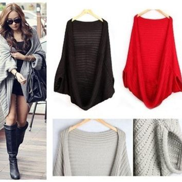 DCCKIX3 knitted sweater Women Sweatshirt Knitted Sweater Batwing Cape Shawls Long Cardigan Jacket = 1946141764