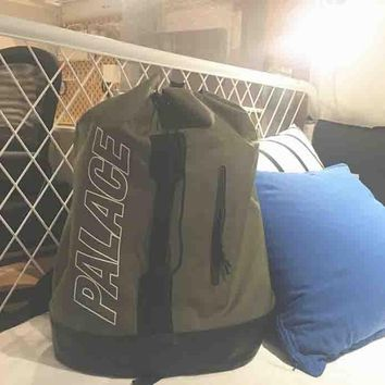Palace New fashion bag women and men backpack Bucket bag Army green