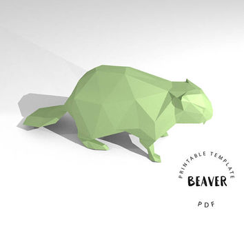 Printable DIY template (PDF).  Beaver low poly paper model. 3D animal paper sculpture. Origami.