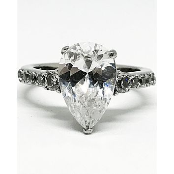 A Flawless 3.9CT Pear Cut Solitaire Russian Lab Diamond Engagement Ring