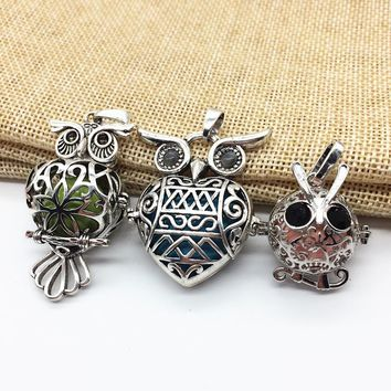 3pcs/Lot Mix Style Tibetan Silver Hollow Night Owl Locket Essential Fragrance Oil Diffuser Mexican Bola Brass Pendant Necklace