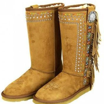 Boho Embroidered Stud Rhinestone Shearling Lined Boots