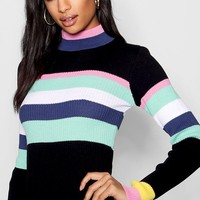 Sophia Stripe Rib Knit Dress | Boohoo