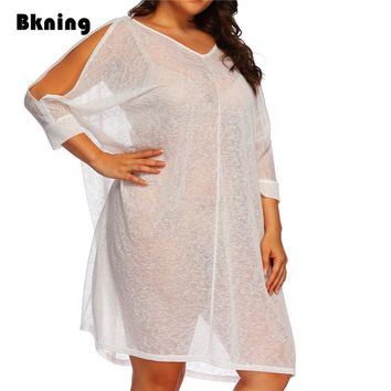 Plus Size Women Swimsuit Cover Up 2018 White Sheer Swim Dress Beach Chiffon Beachwear Kaftan Swimwear Cover Ups Sleeve Big XXL