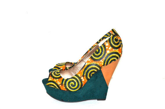 Orange And Green Circles African Print from ZabbaDesigns on Etsy dbeb6e67a8