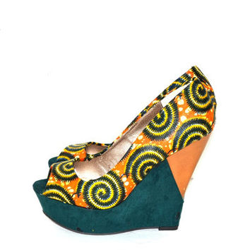 Orange And Green Circles African Print Wedge Shoes, African Fabric Wedge Shoes,  Ankara Print Shoes, Bridal Luxury Heels