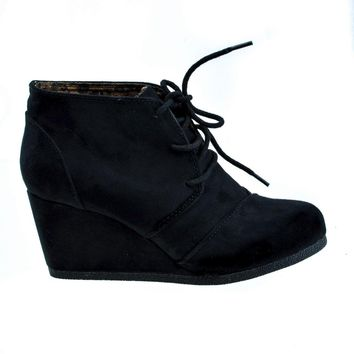 Rex Black By Soda, lace up oxford ankle bootie round toe high hidden wedge heel women'
