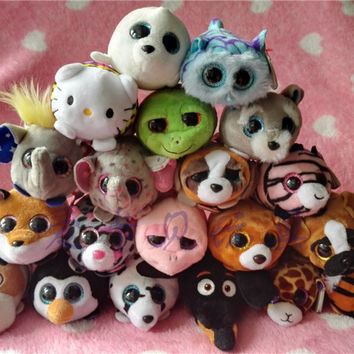 New Ty Teeny Tys Stuffed Animals Fox Owl Giraffe Raccoons For Girls Smartphone Cleaner Kids Stuffed Toys Children Gifts 10-12CM
