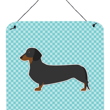Dachshund  Checkerboard Blue Wall or Door Hanging Prints BB3682DS66