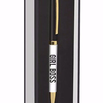 GIRL BOSS Pen in Gift Box, Black and White with Gold