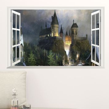3d Magic Harry Potter Poster Window Hogwarts Decorative Wall Stickers For Kids Bedroom Wizarding World School Wallpaper Decals