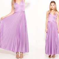70s Lavender Boho Maxi Dress Accordion Pleated Skirt US size 4/6 made in USA