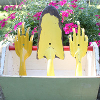 Vintage Garden Tools Set of 3 Yellow Pressed Rolled Metal with Rustic Wood Box
