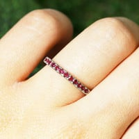 Ruby Band |  Ruby Ring | Solid Gold | 14K White Gold | Wedding Band | Ruby Engagement Ring | Gemstone Ring | Fine Jewelry | Free Shipping