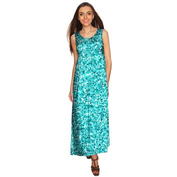 Glittering Azure Blue Bella Sleeveless Empire Waist Maxi Dress - Women