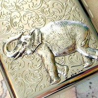 Extra Big Steampunk Cigarette Case Elephant by CosmicFirefly