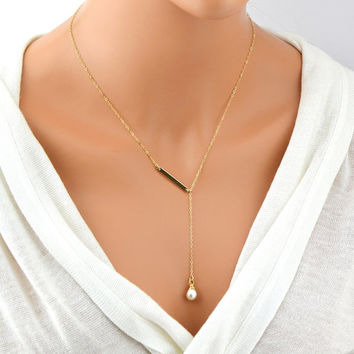 Single Pearl Necklace, Gold Y Necklace, Gold Bar Lariat Necklace, White Freshwater Pearl necklace, Gold Drop Necklace