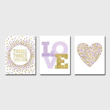 Set of 3 Prints Twinkle Twinkle Little Star Print Purple And Gold Nursery Decor Printable Lavender Gold Nursery Wall Decor Baby Girl Nursery