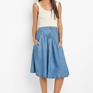 Contemporary Life in Progress A-Line Chambray Skirt