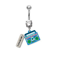 14ga Belly Ring Radio Dangle with Clear Prong Set CZ Gem 316L Surgical Steel