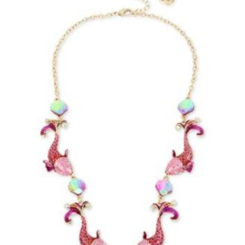 "Betsey Johnson ""Crabby Couture"" Pink Koi Necklace & Earrings"