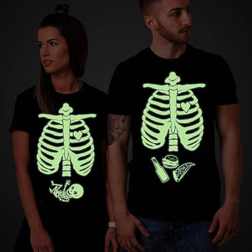 Glow in the dark, Halloween maternity shirts, Matching Halloween shirts, skeleton baby shirt, Halloween shirt, Baby boy, UNISEX