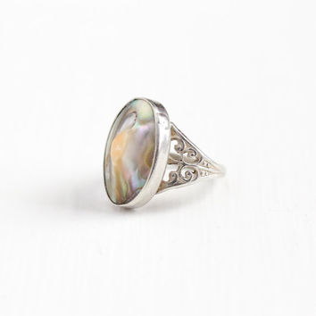 Vintage Sterling Silver Blister Pearl Ring - Antique Filigree Art Deco 1920s 1930s Size 3 1/2 Colorful Nature Inspired Open Metal Jewelry