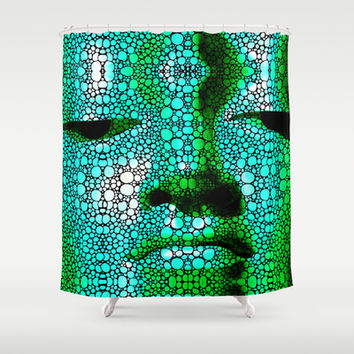 Green Buddha - Stone Rock'd Art By Sharon Cummings Shower Curtain by Sharon Cummings | Society6