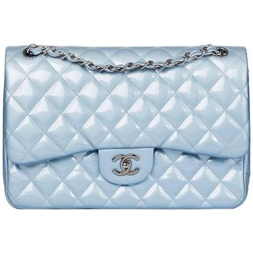 Chanel Sky Blue Quilted Iridescent Patent Leather Jumbo Classic Double Flap Bag