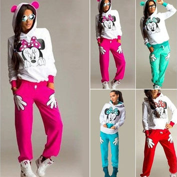 Spring Autumn Minnie Mouse Printed Tracksuits Women Cartoon Sweatshirt Hoodies And Pants [9145172102]