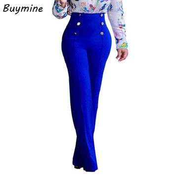 Fashion Flare Pants Women 2017 High Waist Black Trousers Front Button Brief Ladies Pants OL Elegant Pants Summer Pencil Trousers