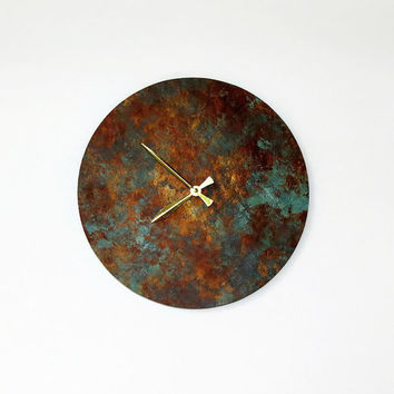 SALE Wall Clock, Rustic Clock, Blue Patina, Home Decor, Home and Living, Clocks