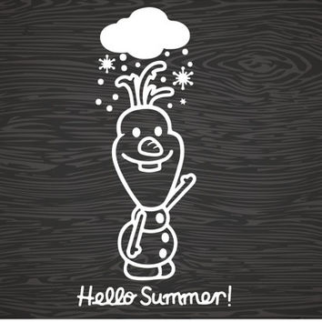 hello summer, olaf vinyl decal sticker, free shipping!