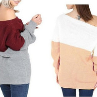 Fashion Mixed Color Women Long Sleeve Off Shoulder Top _ 10316
