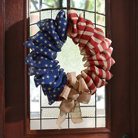 Stars and Stripes Burlap Wreath
