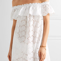 Tory Burch - Off-the-shoulder broderie anglaise cotton mini dress