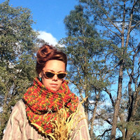 Colorful Circle Scarf. Chunky / Funky / Earth Tones / Infinity Cowl Ready to Ship!