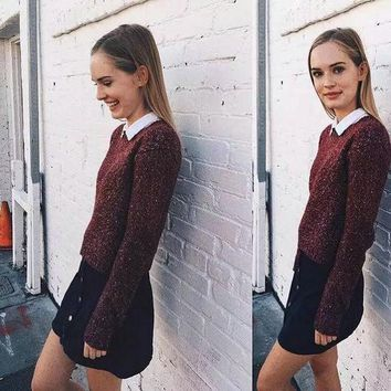 DCCKJ6E Brandy Melville Pullover Knit Batwing Sleeve Casual Tops [9698944399]