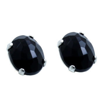 Sterling Silver Black Onyx Earrings Gemstone Studs Classic Studs Everyday Earrings Natural Stone Silver Post Black Stone Mother's Day Gift