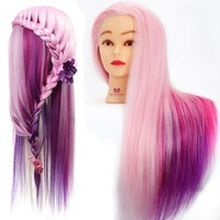 """24 """" Colorful Hairdressing Cosmetology Salon Mannequin Head Manikin Training Head with Synthentic Fiber Hair + Clamp"""