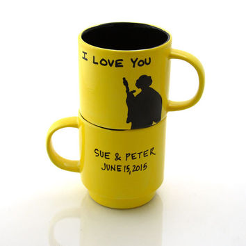 Star Wars (R) Han Solo and Leia I love you I know  Mug Set, stacking, Wedding or Anniversary, can be personalized