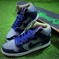 Nike Dunk High Premium SB Bule Denim Men's Skateboard Shoes - Best Online Sale
