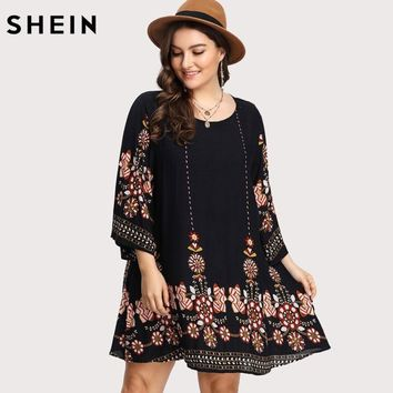 SHEIN Black Plus Size Floral Embroidery Tunic Dress Spring Summer Elegant Large Sizes Tribal Flower Print Vocation Dress