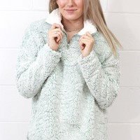Cozy Up 2-Tone Sherpa Zipper Pullover {Sage}