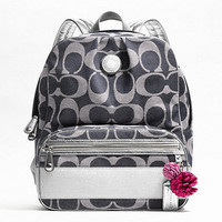"Authentic COACH ""SIS"" Signature Backpack Bookbag F19691 Denim/Silver NWT $298"