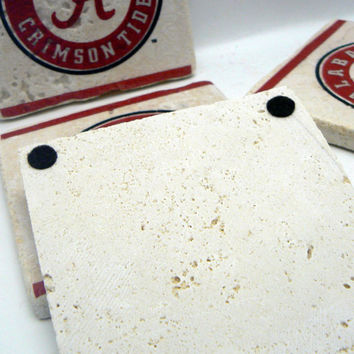Alabama Coasters Crimson Roll Tide Football Logo Team Spirit Natural Stone Tile 4x4 Drink Coaster Set of 4