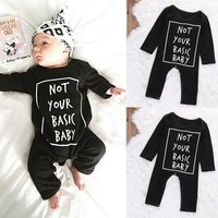 Cute Baby Kid Boy Girl Infant Letter Printing Long Sleeve Romper Jumpsuit Cotton Autumn&Winter Clothes Outfit Set