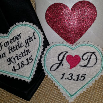 Rustic Necktie Patch SET. 2 Embroidered Tie Patches.Tie Patches for Father of Bride/Groom/Grandfather Personalized Love Notes
