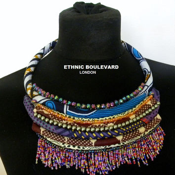 Rope necklace made with african fabrics and finished with glass beads and bead fringe
