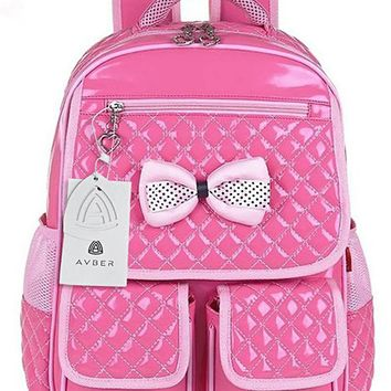 Avber Children School Backpack Bags for Primary Girls Students Bow